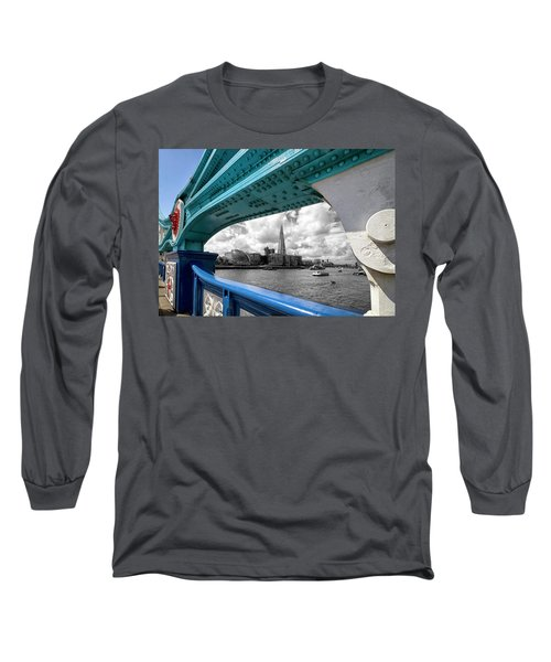 View Through Tower Bridge Long Sleeve T-Shirt by Shirley Mitchell