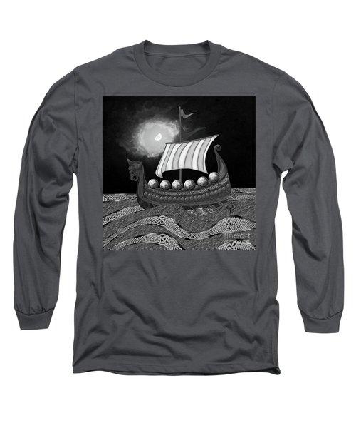 Long Sleeve T-Shirt featuring the digital art Viking Ship_bw by Megan Dirsa-DuBois