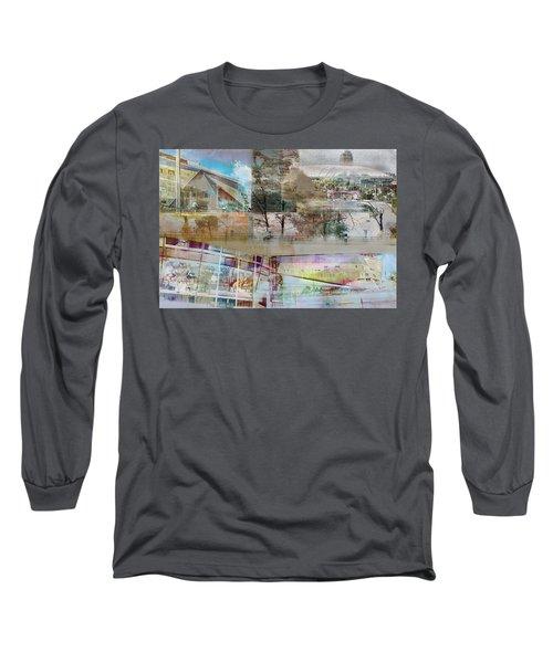 Vikings Stadium Collage 2 Long Sleeve T-Shirt by Susan Stone