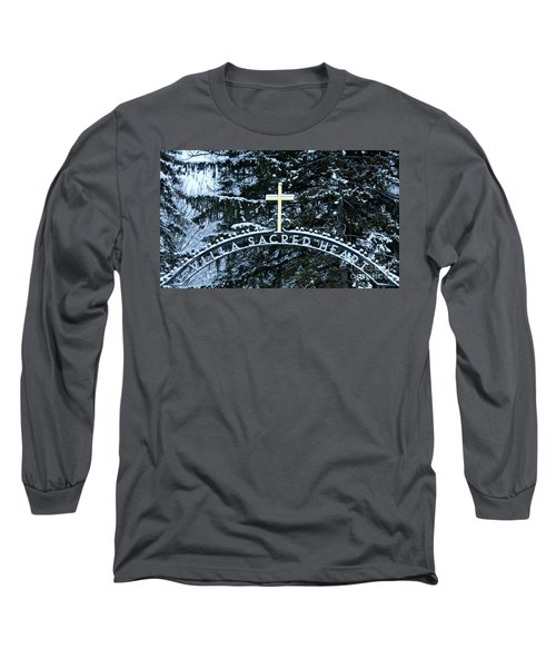 Long Sleeve T-Shirt featuring the photograph Villa Sacred Heart Winter Retreat Golden Cross by John Stephens