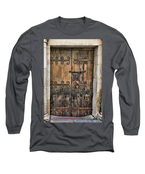 Village Chateau French Old Ancient Door Color  Long Sleeve T-Shirt
