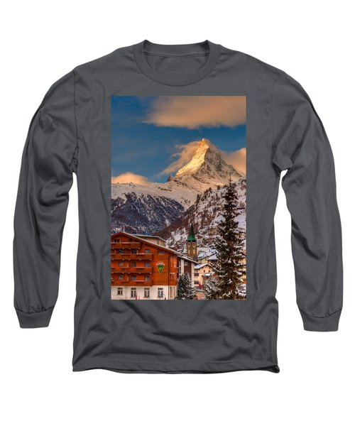 Village Of Zermatt With Matterhorn Long Sleeve T-Shirt