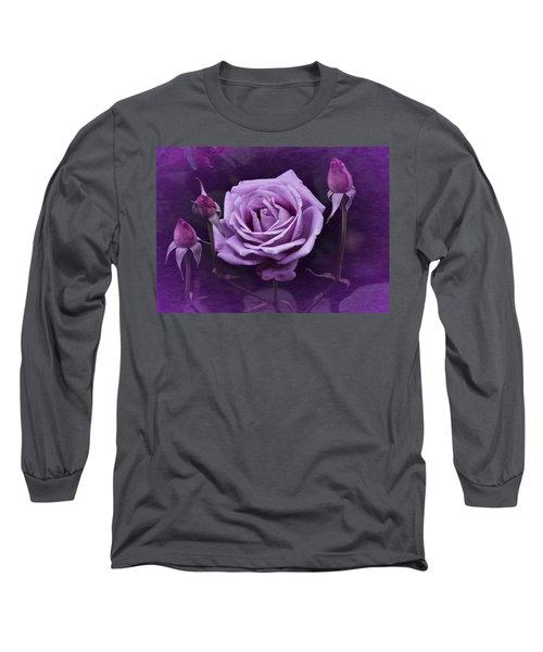 Vintage Aug Purple Rose Long Sleeve T-Shirt