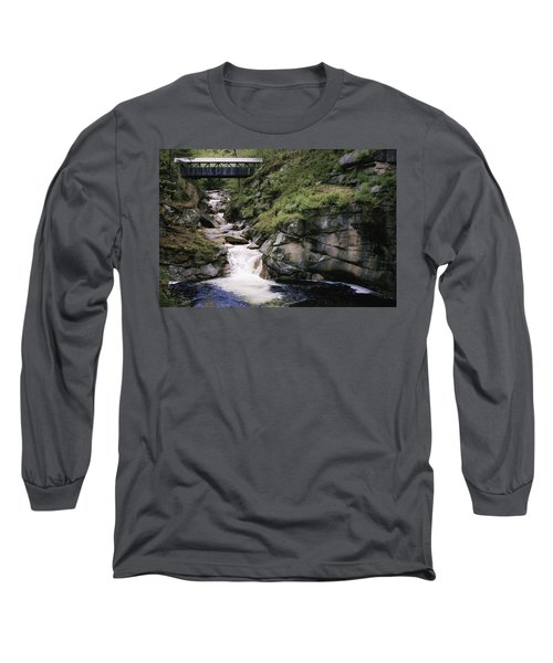 Vintage Covered Bridge And Waterfall Long Sleeve T-Shirt by Jason Moynihan