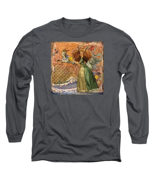 Vintage Golden Woman Capricorn Gothic Whimsical Collage Long Sleeve T-Shirt by Mary Hubley