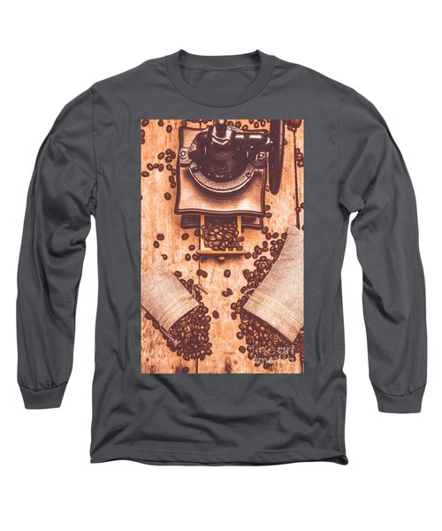 Vintage Grinder With Sacks Of Coffee Beans Long Sleeve T-Shirt