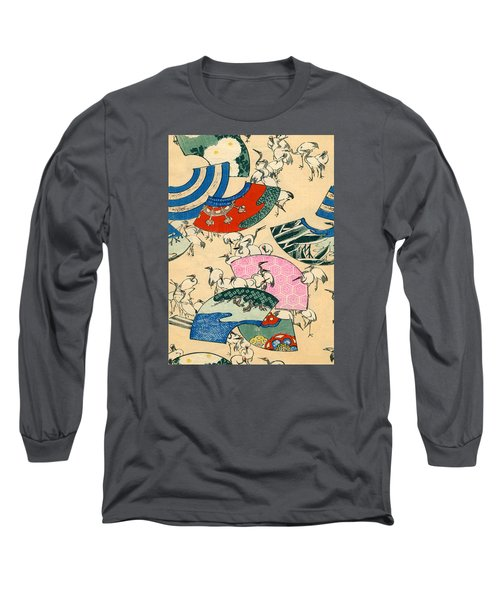Vintage Japanese Illustration Of Fans And Cranes Long Sleeve T-Shirt by Japanese School