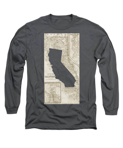 Long Sleeve T-Shirt featuring the drawing Vintage Map Of California Phone Case by Edward Fielding
