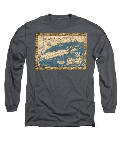 Vintage Map Of Long Island Long Sleeve T-Shirt by James Kirkikis