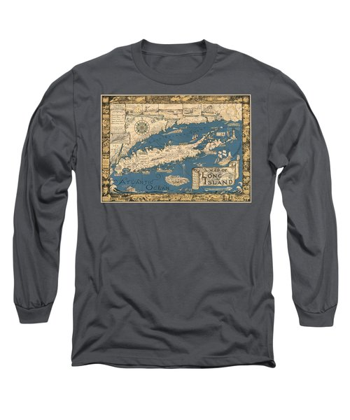 Vintage Map Of Long Island Long Sleeve T-Shirt