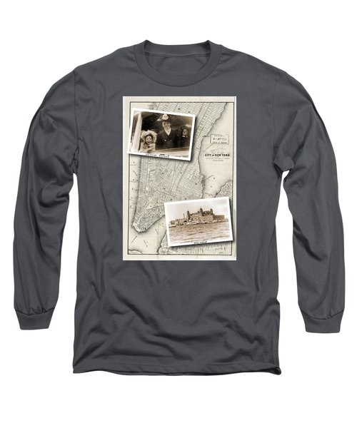 Vintage New York Map With Ellis Island Long Sleeve T-Shirt
