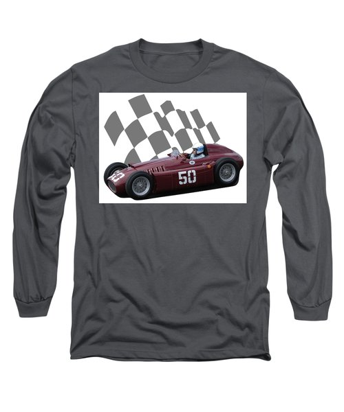 Vintage Racing Car And Flag 1 Long Sleeve T-Shirt by John Colley