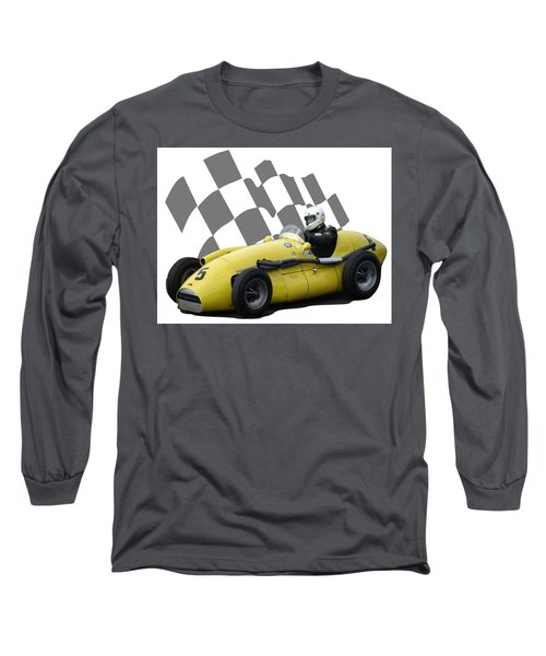 Vintage Racing Car And Flag 4 Long Sleeve T-Shirt by John Colley