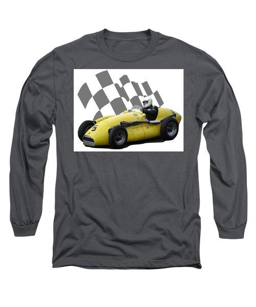 Vintage Racing Car And Flag 4 Long Sleeve T-Shirt