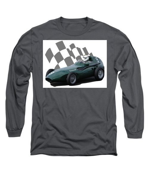 Vintage Racing Car And Flag 5 Long Sleeve T-Shirt by John Colley