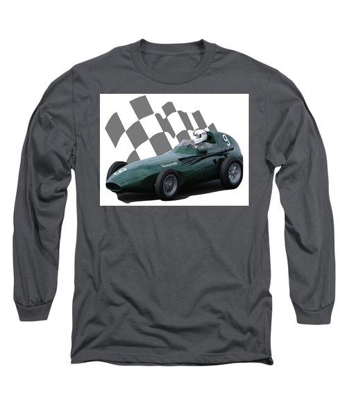 Vintage Racing Car And Flag 5 Long Sleeve T-Shirt