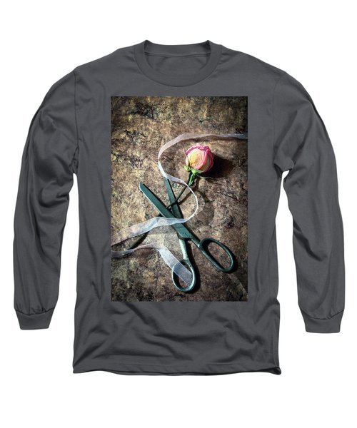 Vintage Scissors, Dried Pink Rose And Ribbon Long Sleeve T-Shirt