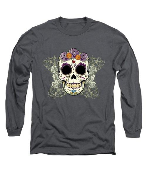 Vintage Sugar Skull And Flowers Long Sleeve T-Shirt