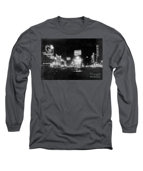Long Sleeve T-Shirt featuring the photograph Vintage Times Square At Night Black And White by John Stephens