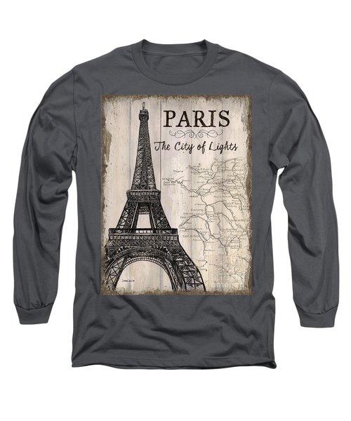 Vintage Travel Poster Paris Long Sleeve T-Shirt by Debbie DeWitt