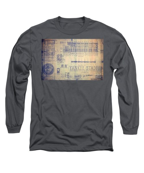 Vintage Yankee Stadium Blueprint Signed By Joe Dimaggio Long Sleeve T-Shirt