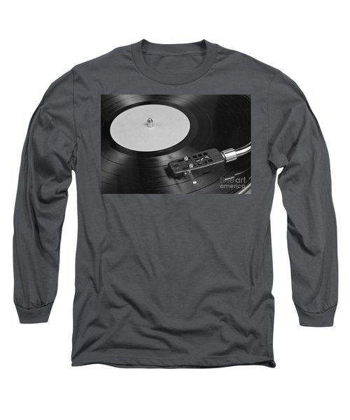 Vinyl Record Playing On A Turntable Overview Long Sleeve T-Shirt