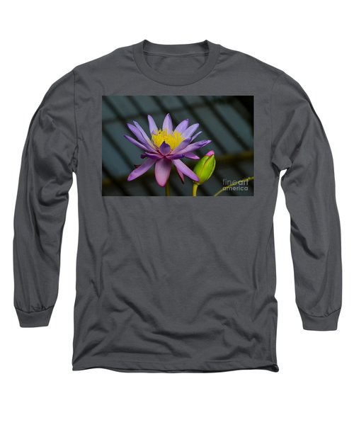 Violet And Yellow Water Lily Flower With Unopened Bud Long Sleeve T-Shirt
