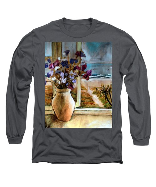 Long Sleeve T-Shirt featuring the painting Violet Beach Flowers by Winsome Gunning