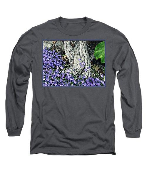 Violets At My Feet Long Sleeve T-Shirt by Sarah Loft