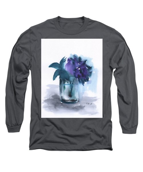 Violets In A Glass Abstract Long Sleeve T-Shirt by Frank Bright
