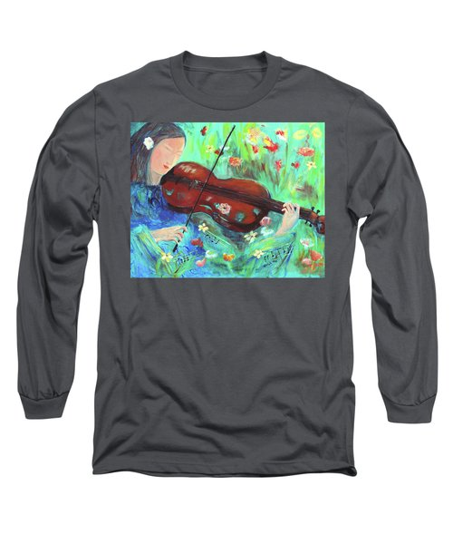 Violinist In Garden Long Sleeve T-Shirt
