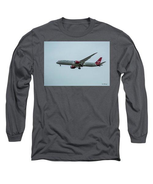 Virgin Atlantic Airplane Gwmap Boeing 787-9 Arriving Lax Art Long Sleeve T-Shirt