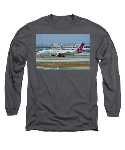 Long Sleeve T-Shirt featuring the photograph Virgin Atlantic Boeing 787-9 G-vzig Los Angeles International Airport May 3 2016 by Brian Lockett