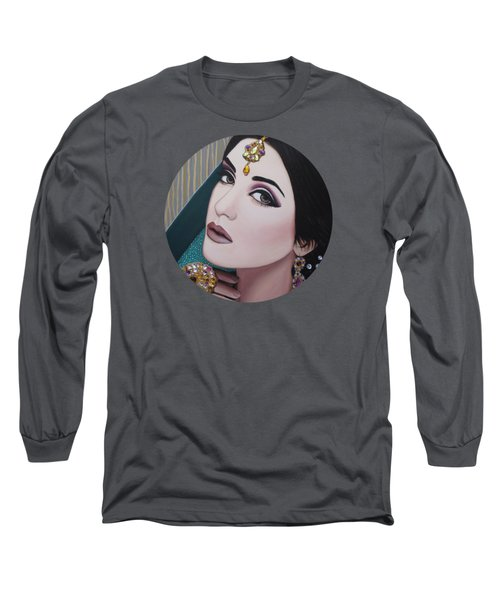 Long Sleeve T-Shirt featuring the painting Viridian Indian Beauty by Malinda Prudhomme
