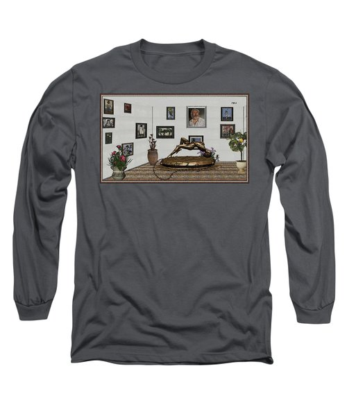 Long Sleeve T-Shirt featuring the mixed media Virtual Exhibition -statue Of Girl by Pemaro
