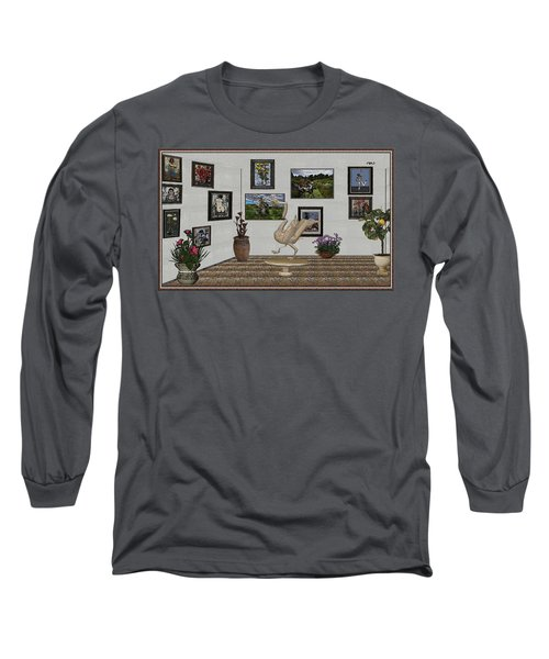 Long Sleeve T-Shirt featuring the mixed media virtual exhibition_Statue of swan 23 by Pemaro