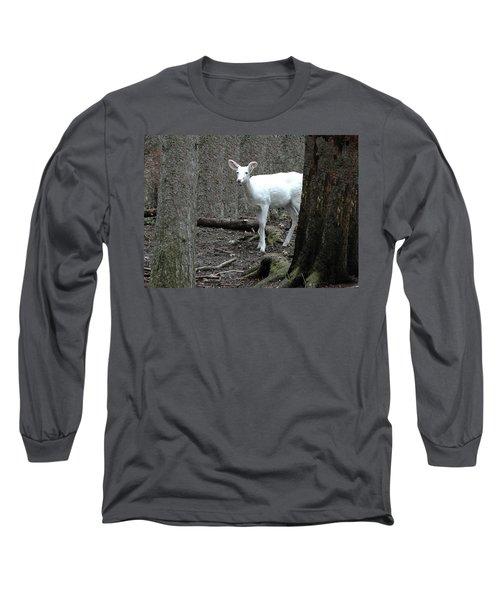 Long Sleeve T-Shirt featuring the photograph Vision Quest White Deer by LeeAnn McLaneGoetz McLaneGoetzStudioLLCcom
