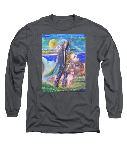 Long Sleeve T-Shirt featuring the painting Visiting Star Beings by Kicking Bear  Productions