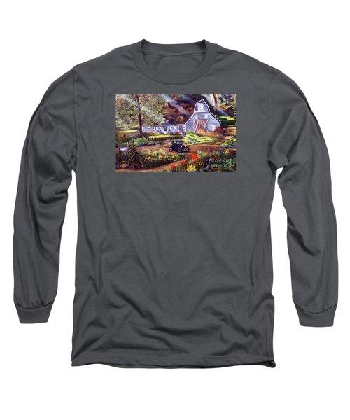 Visiting The Rocking R Long Sleeve T-Shirt by Myrna Walsh