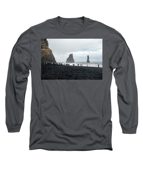 Long Sleeve T-Shirt featuring the photograph Visitors In Reynisfjara Black Sand Beach, Iceland by Dubi Roman