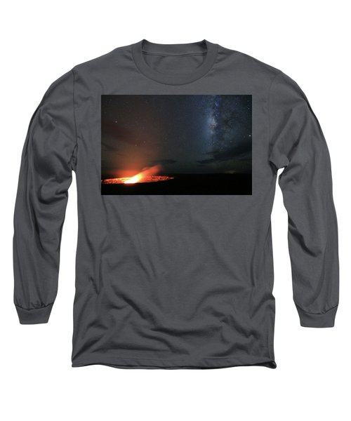 Volcano Under The Milky Way Long Sleeve T-Shirt