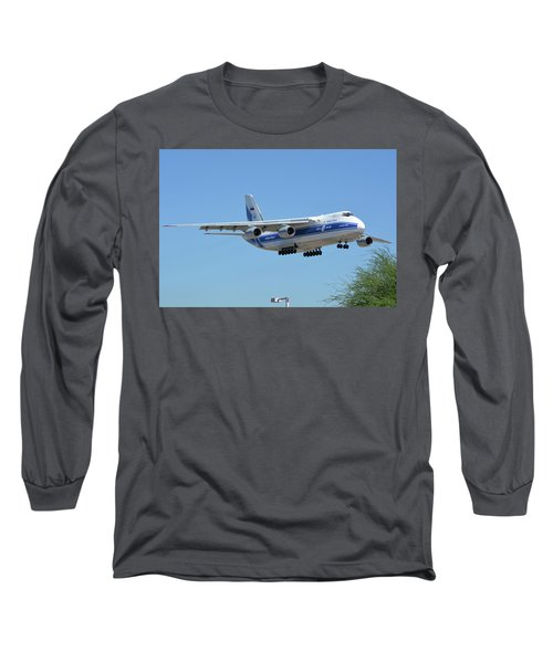 Long Sleeve T-Shirt featuring the photograph Volga-dnepr An-124 Ra-82068 Landing Phoenix Sky Harbor June 15 2016 by Brian Lockett