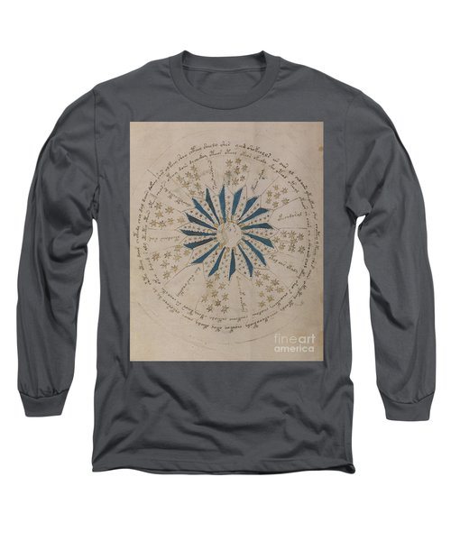 Voynich Manuscript Astro Rosette 1 Long Sleeve T-Shirt