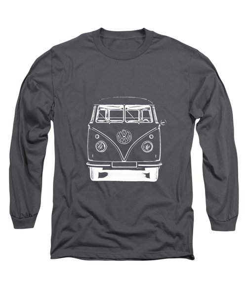 Vw Van Graphic Artwork Tee White Long Sleeve T-Shirt by Edward Fielding