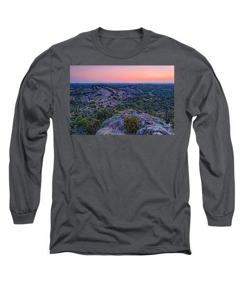 Waiting For Sunrise At Turkey Peak - Enchanted Rock Fredericksburg Texas Hill Country Long Sleeve T-Shirt