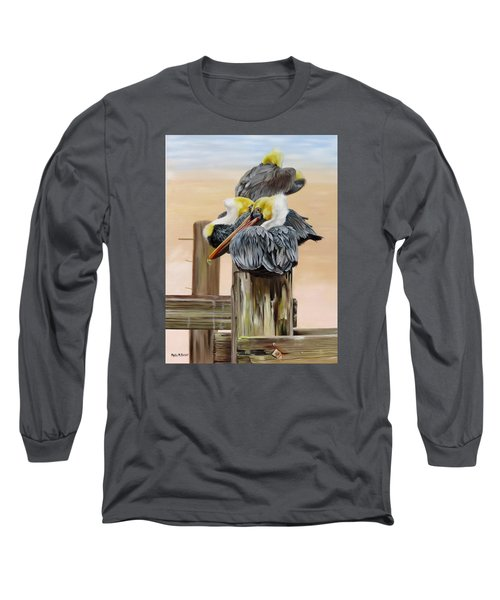 Long Sleeve T-Shirt featuring the painting Waiting On The Tide by Phyllis Beiser