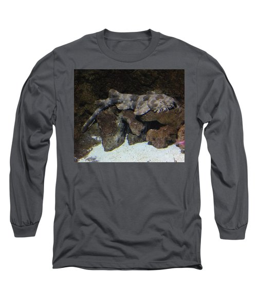 Long Sleeve T-Shirt featuring the photograph Waiting To Eat You - Spotted Wobbegong Shark by Richard W Linford