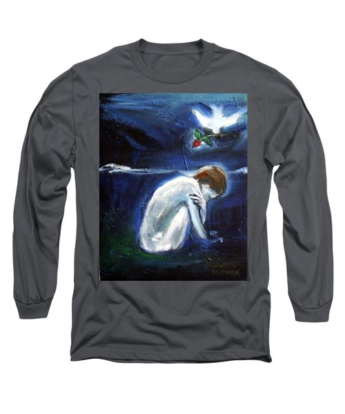 Long Sleeve T-Shirt featuring the painting Waiting by Winsome Gunning