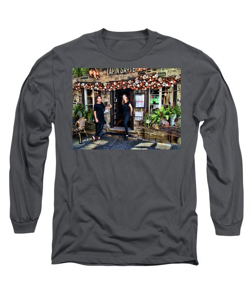 Waitresses At Outdoor French Terroir In Old Quebec City Long Sleeve T-Shirt
