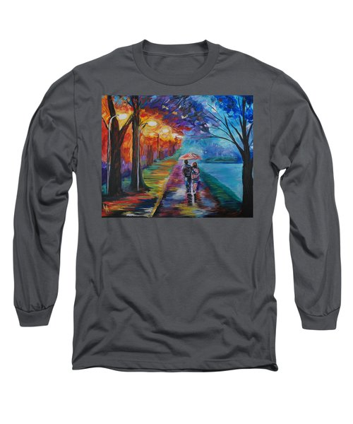 Long Sleeve T-Shirt featuring the painting Walk By The Lake Series 1 by Leslie Allen